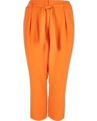 River Island Ri Plus Orange Soft Tie Tapered Pants