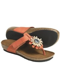 Bos and Co Bionatura Bari Thong Sandals Nubuck Orange
