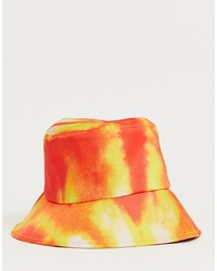 boohooMAN Bucket Hat In Tie Dye Orange