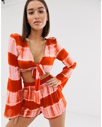Missguided Co Ord Tie Front Top With S In Orange Tie Dye