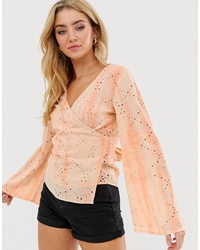 ASOS DESIGN Wrap Top In Broderie Tie Dye