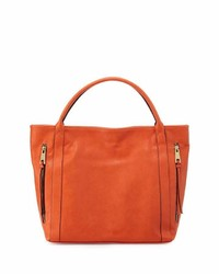 Neiman Marcus Double Zip Faux Leather Tote Bag