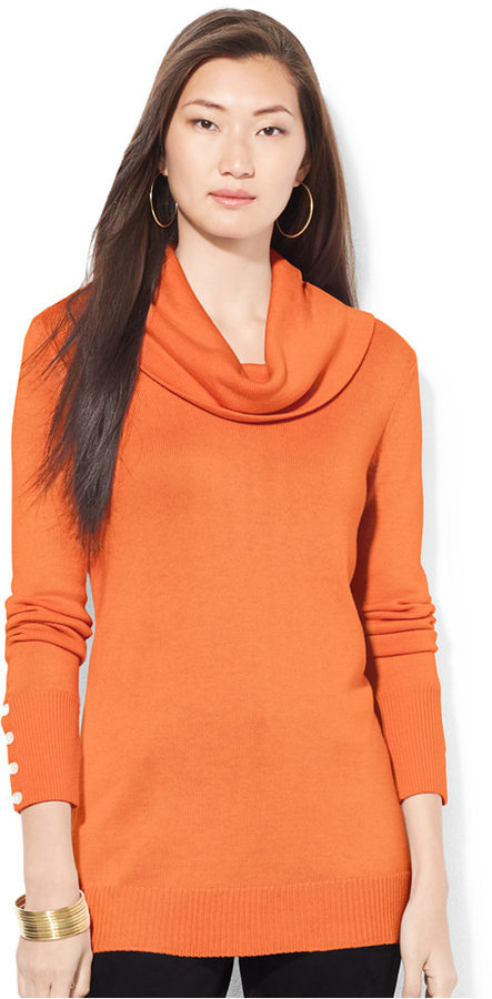 Lauren Ralph Lauren Cowl Neck Button Cuff Sweater Where To Buy