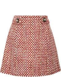 Prada Wool And Cotton Blend Tweed Mini Skirt Orange