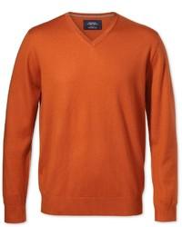 Charles Tyrwhitt Orange Merino Wool V Neck Sweater Size Xl By