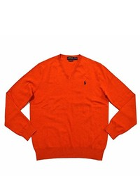 Polo Ralph Lauren Pima Cotton V Neck Sweater L Orange