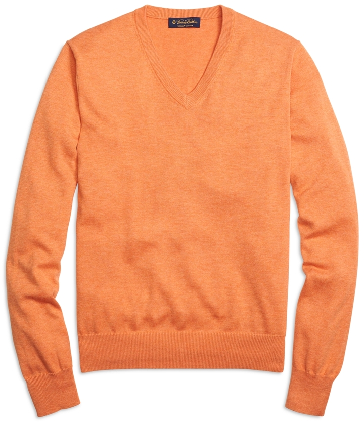 Brooks Brothers Supima Cotton V Neck Sweater | Where to buy & how ...