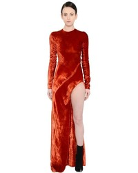 Haider Ackermann Crushed Velvet Dress With Cutout