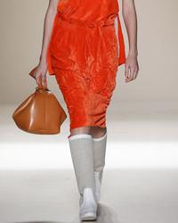 Victoria Beckham Ruched Velvet Pencil Skirt Orange
