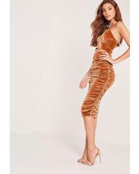 Missguided Velvet Ruched Side Midi Skirt Orange