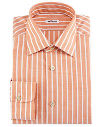 Kiton Bold Stripe Dress Shirt Tangerinewhite