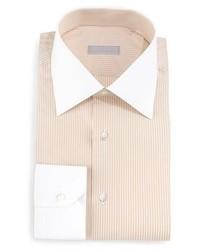 Stefano Ricci Contrast Collar Striped Dress Shirt Orange