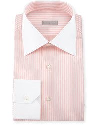 Stefano Ricci Contrast Collar Striped Dress Shirt Orange