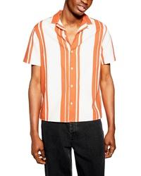 Orange Vertical Striped Short Sleeve Shirt