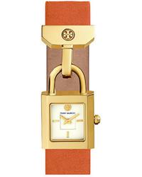 Tory Burch Surrey Padlock Multilink Bracelet Watch Orangegolden