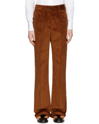 Prada Orange Corduroy Wide Leg Trousers