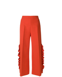 MSGM Wide Leg Ruffle Trousers