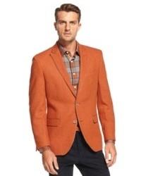 Tallia Orange Big And Tall Jacket Orange Wool Blend Paisley Trim Blazer
