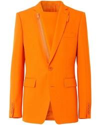 Burberry Zip Detail Wool Blazer