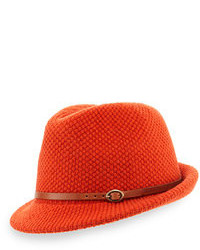 Knit fedora hat with leather band orange medium 106009
