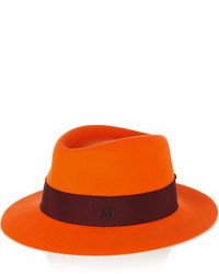 Maison michel andre grosgrain trimmed rabbit felt fedora medium 106010
