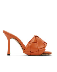 Bottega Veneta Orange Intrecciato Lido Heeled Sandals