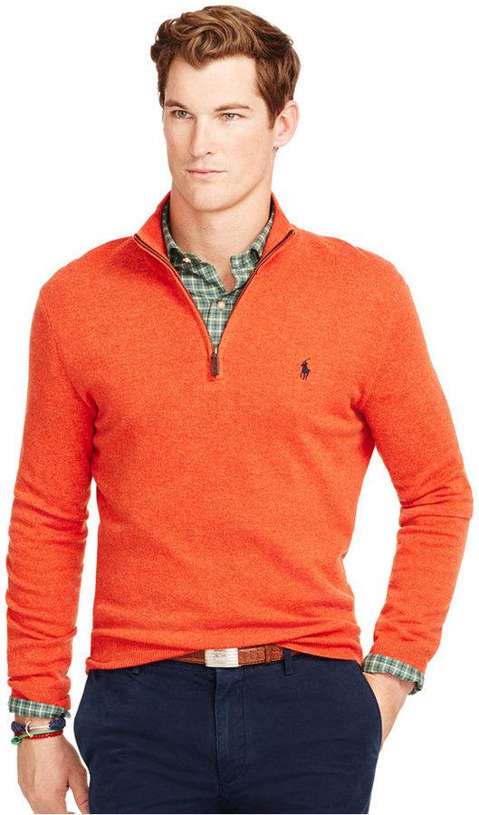 Men\u0027s Fashion \u203a Sweaters \u203a Zip Neck Sweaters \u203a Orange Zip Neck Sweaters  Polo Ralph Lauren Merino Half Zip Sweater ...
