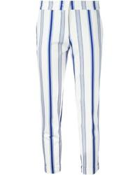 Pantacourt à rayures verticales blanc et bleu marine Etro