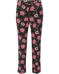 Pantalón capri con print de flores negro de Marni