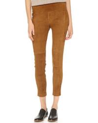 Pantalón capri de ante marrón