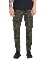 Pantalón cargo de camuflaje verde oscuro