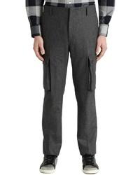 Pantalón cargo de lana en gris oscuro