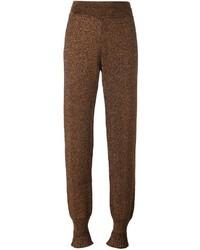 Pantalon carotte à volants doré Lanvin