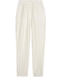 Pantalon carotte en soie blanc Zimmermann