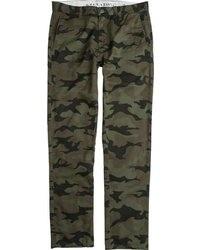 Pantalón chino de camuflaje verde oscuro