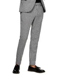 Pantalón chino de cuadro vichy en blanco y negro