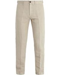 Pantalón chino de lino en beige