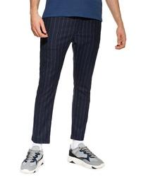 Pantalón chino de rayas verticales azul marino