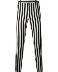 Pantalón chino de rayas verticales en negro y blanco
