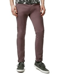 Pantalón chino de sarga marrón de Topman