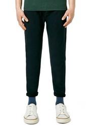 Pantalón chino de sarga verde oscuro de Topman
