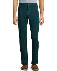 Pantalón chino de tartán verde oscuro