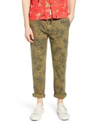Pantalón chino estampado verde oliva