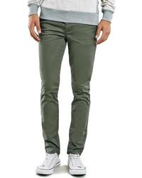 Pantalón chino verde oscuro de Topman