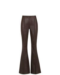 Pantalón de campana de cuero en marrón oscuro de Tufi Duek
