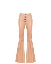 Pantalón de campana de cuero rosado de Andrea Bogosian