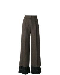 Pantalón de campana de lana en marrón oscuro de Maison Margiela