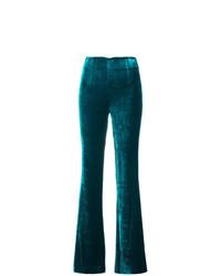 Pantalón de campana de terciopelo verde oscuro de Galvan