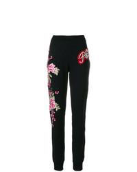 Pantalón de chándal con print de flores negro de Philipp Plein