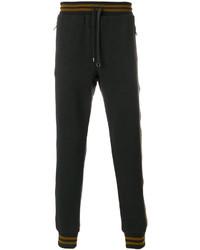 Pantalón de chándal de cuero en gris oscuro de Dolce & Gabbana
